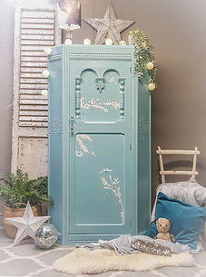 Decoupaged wardrobe by Feral Furniture DBespoke furniture painting service Cornwall UK furniture painter upcycler redesigner commission painter kitchen cabinet painter refinisher restorer