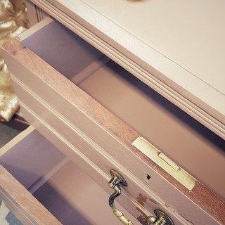9 Damask Pink painted drawers by The Pai