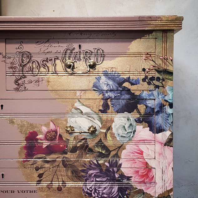 2 Damask Pink painted drawers by Feral F