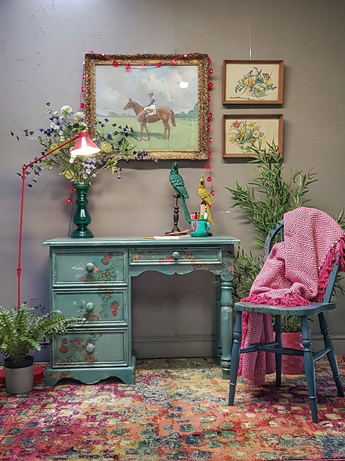Dinesha Blue Green Milk Painted Decoupaged Desk Dressing Table