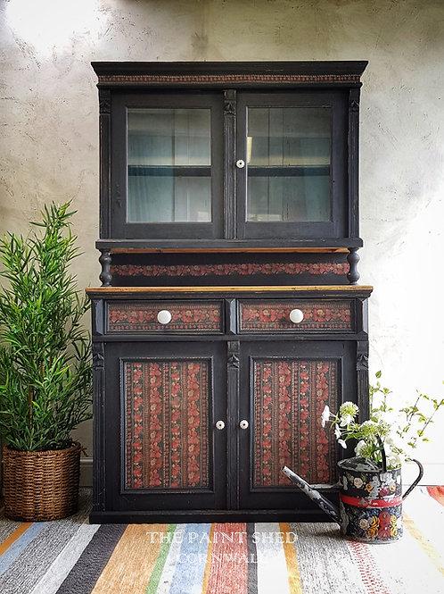Demelsa Black Decoupaged Milk Painted Folk Inspired Bohemian Vintage Dresser