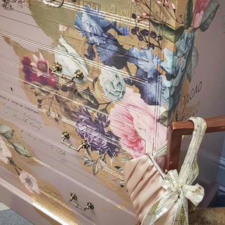 3 Damask Pink painted drawers by The Pai