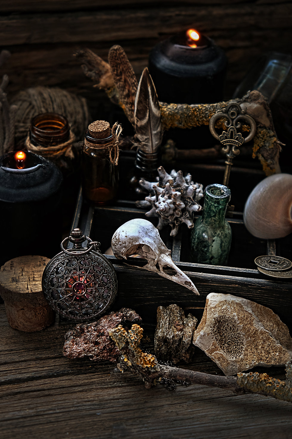 Witchcraft composition with skull, candl
