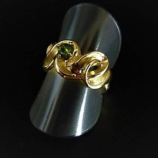 Ribbon ring 18k gold with two tourmaline