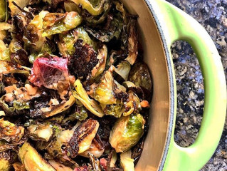 Brussels Sprouts with Blood Orange & Fried Shallots in a Peanut Sauce
