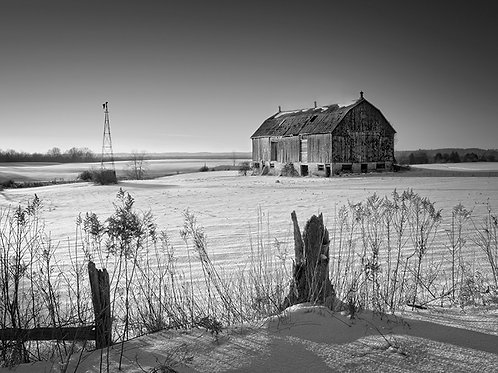"Winter Barn - 11"" x 14"" Matted Print"