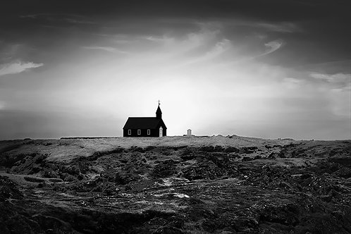 "Buðir Black Church - 11"" x 14"" Matted Print"