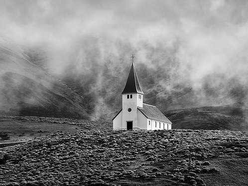 """Church In The Mist - 11"""" x 14"""" Matted Print"""