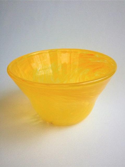 Yellow Handblown Glass Bowl