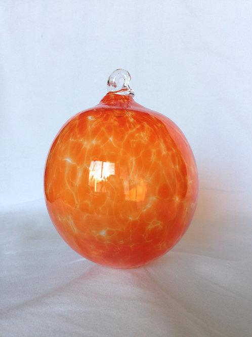 Orange Handblown Glass Orb
