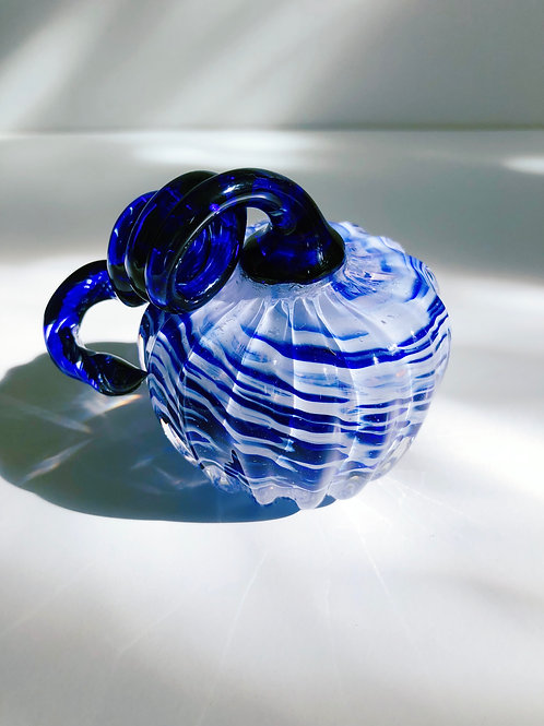 Handblown Glass Pumpkin; blue and white w/ blue stem