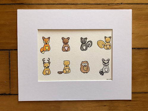 Woodland Creatures Watercolor Drawings