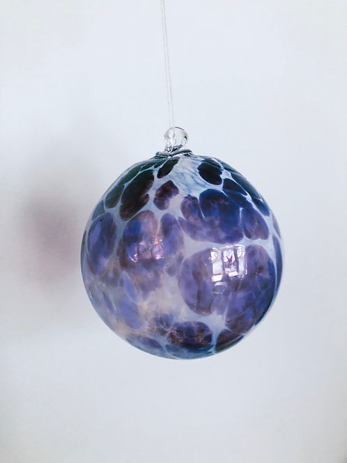 Handblown Ornament/ wht and purple