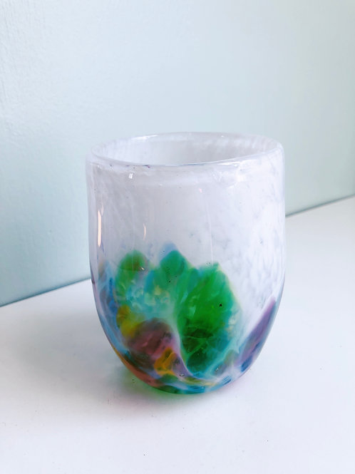 Handblown Drinking Glass/ wht and multi