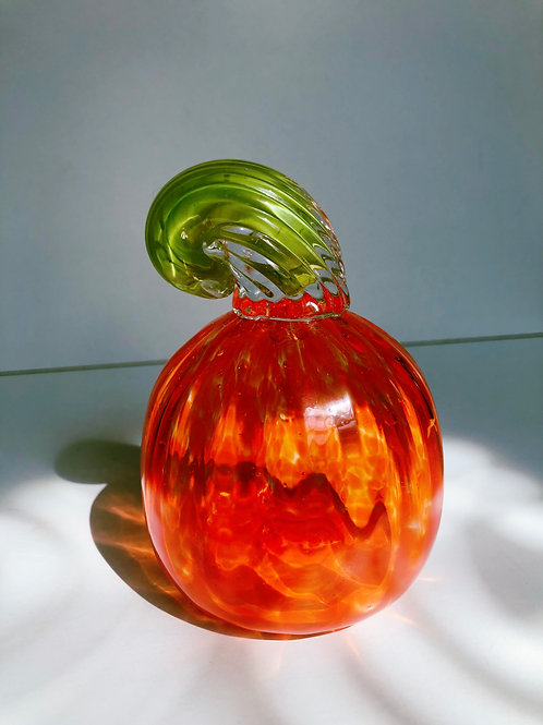 Handblown Glass Pumpkin; orange w/ green stem