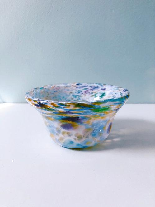 Handblown Bowl/ wht and multi
