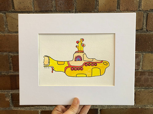 Yellow Submarine Watercolor Drawing