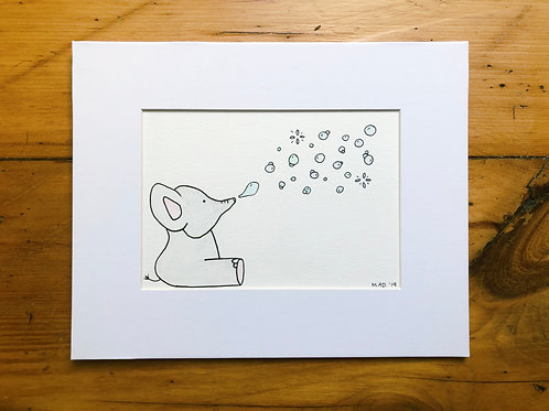 Elephant Blowing Bubbles Watercolor Drawing