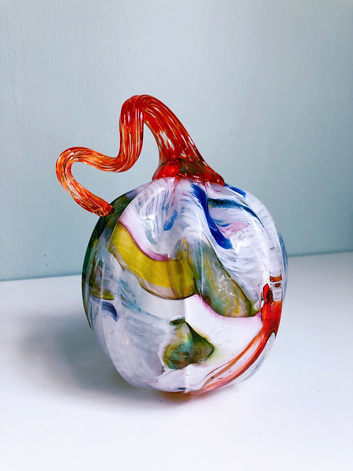 Handblown Glass Pumpkin; wht, multi w/ orange stem