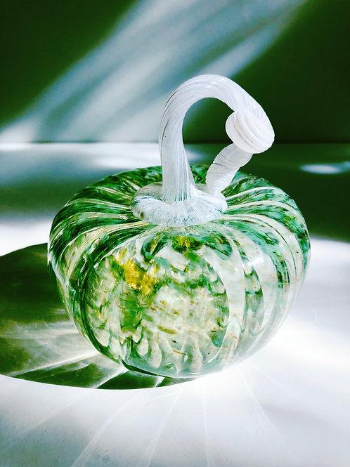 Handblown Glass Pumpkin; green w/ white stem