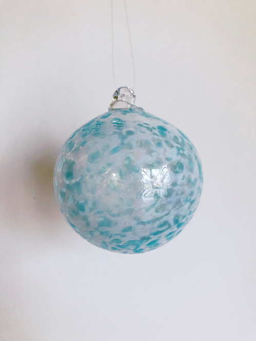 Handblown Glass Ornament/ wht and aqua blue