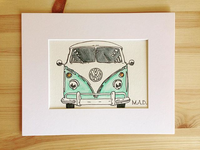 VW Bus Watercolor Drawing #madbymerritt #merrittart #vwbus #watercolor