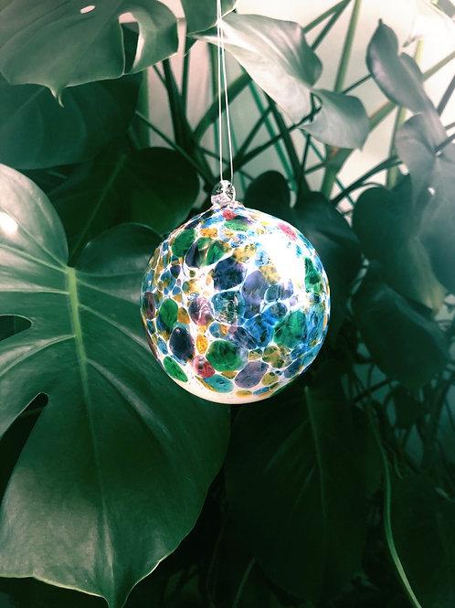 Handblown Glass Orb; wht,multi