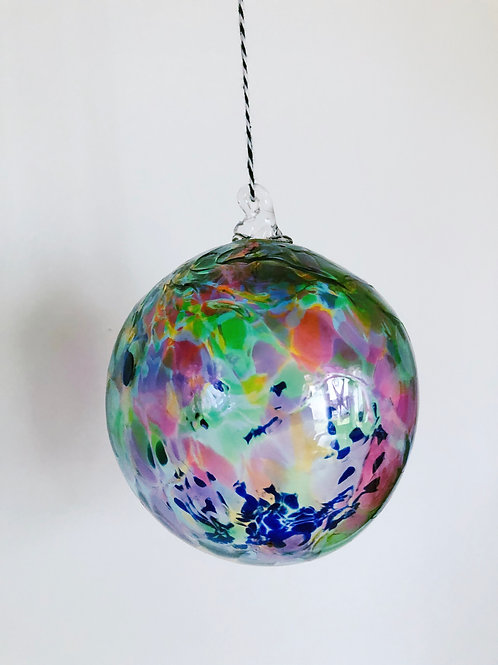 Handblown Glass Ornament/ multi and blue