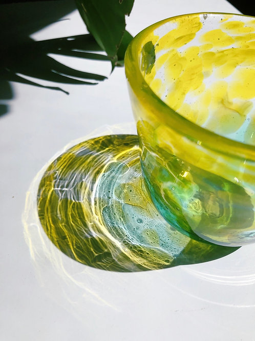 Handblown Glass Bowl; ylw, emerald grn