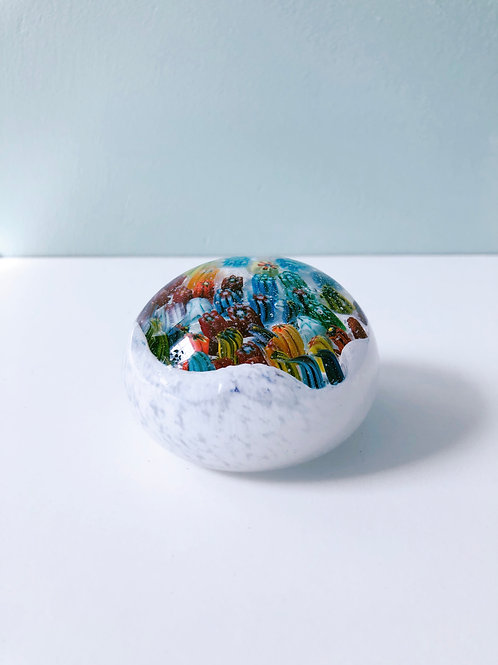 Handcrafted Dragon Egg/ wht and millefiori
