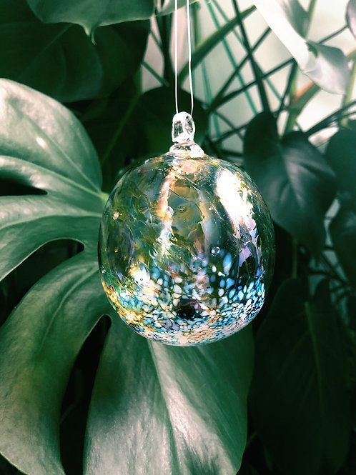 Handblown Glass Orb; multi, wht