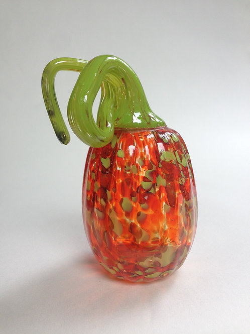 Orange & Green Spotted Handblown Pumpkin