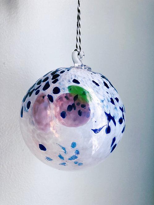 Handblown Glass Ornament/ wht, blue and multi