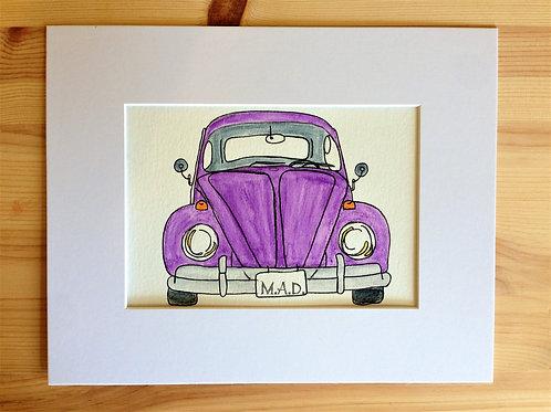 VW Beetle Bug Watercolor Drawing