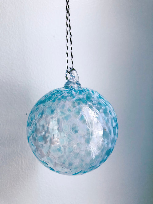 Handblown Glass Ornament/ wht and aqua blue