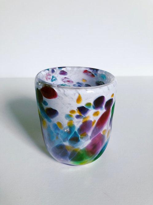 Handblown Drinking Glass; white w/dark multi
