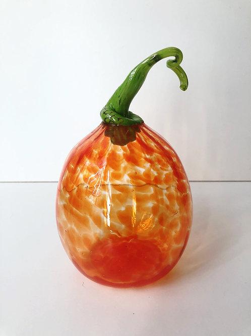 Handblown Pumpkin; orange w/ green stem