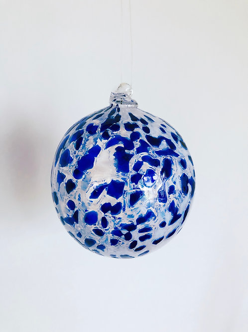Handblown Glass Ornament/blue and wht