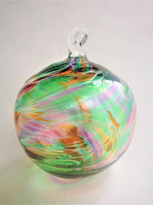 Green Multi Handblown Glass Orb