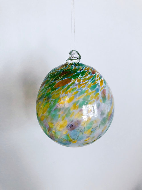 Handblown Ornament/ wht and green multi