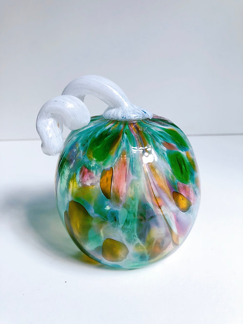 Handblown Glass Pumpkin; green multi w/ white stem