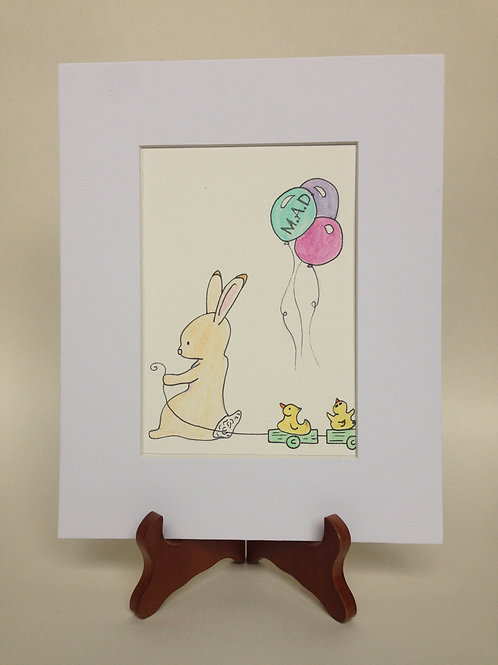 Bunny and Ducklings Watercolor Drawing