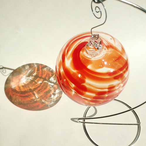 Red Swirl Handblown Glass Orb