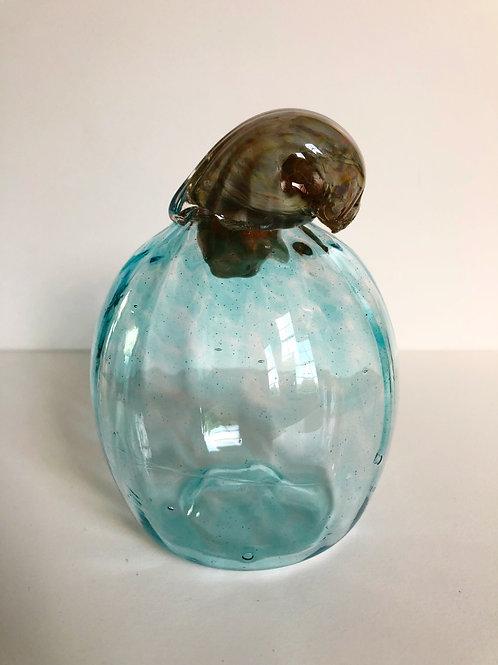 Handblown Glass Pumpkin; aqua blue w/ tan stem