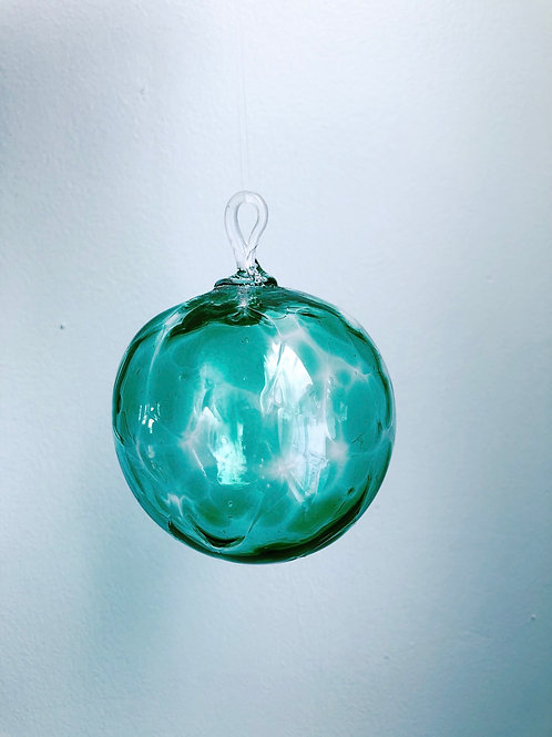 Handblown Glass Orb/ emerald grn