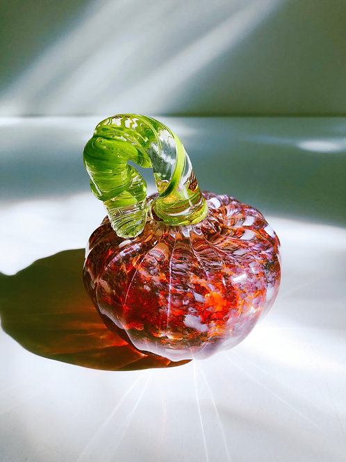 Handblown Glass Pumpkin; orange and white w/ green stem