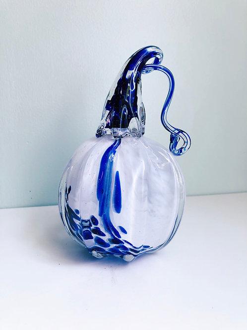 Handblown Glass Pumpkin; wht/cobalt blue