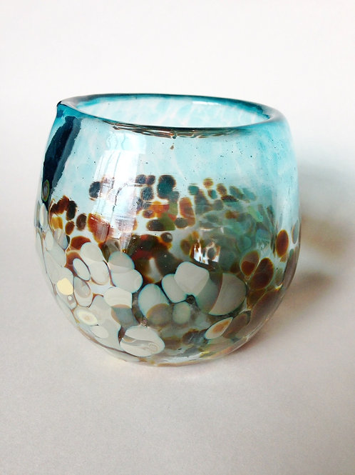 Handblown Drinking Glass; blue/cream