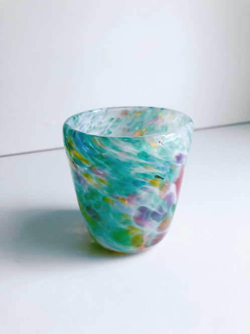 Handblown Glass Cup/ white and green multi