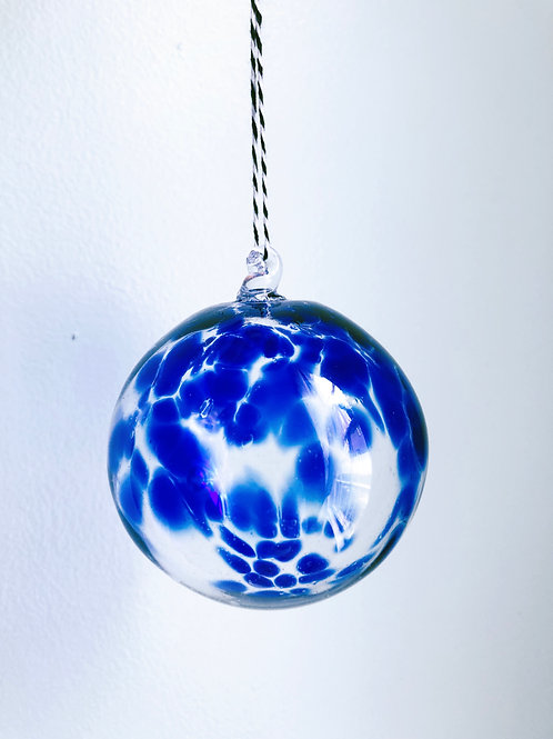 Handblown Glass Ornament/ cobalt blue